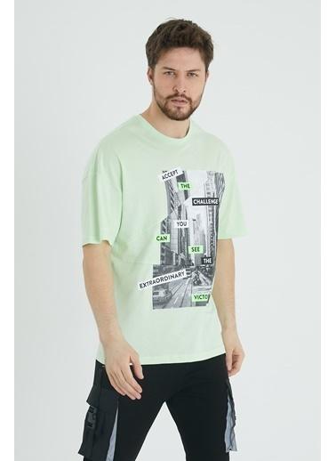 XHAN Mint Parçalı Baskılı Salaş T-Shirt 1Kxe1-44647-58 Yeşil